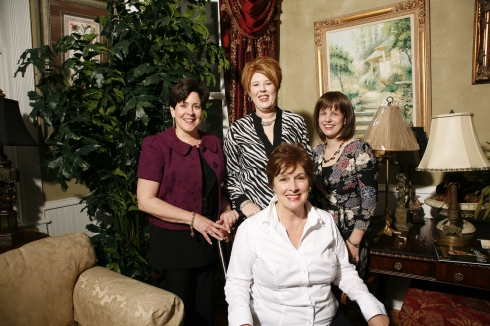 The Designers: Standing, Jamie Rikoff, Jodie Vicars and Kelly Arthur, Sitting is Kathy Campbell